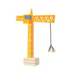 yellow hoisting crane colorful cartoon vector image vector image