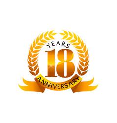 18 years ribbon anniversary vector