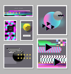abstract design set in glitch style trendy vector image