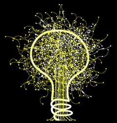 Abstract light bulb on black background vector image