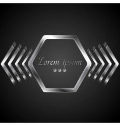 Abstract metal logo design with hexagon and arrows vector