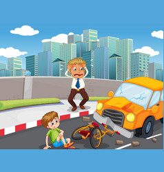 Accident scene with car crash on road vector
