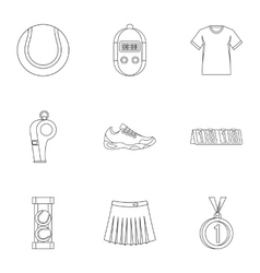 Active tennis icons set outline style vector