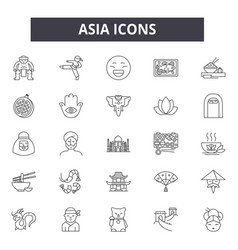 asia line icons for web and mobile design vector image