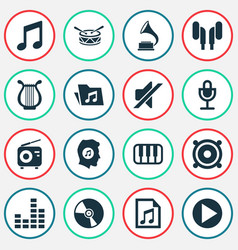 Audio icons set collection of file octave vector