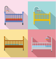baby crib cradle bed icons set flat style vector image