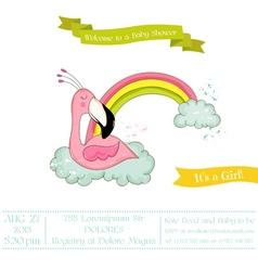 Baby shower card - flamingo girl on rainbow vector