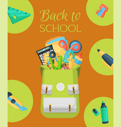 back to school poster banner kids school vector image