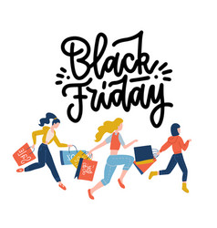 black friday crowd women running to store vector image