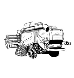 black sketch of big combine vector image