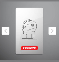 Brain hack hacking key mind line icon in carousal vector