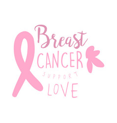 Breast cancer support love label hand drawn vector