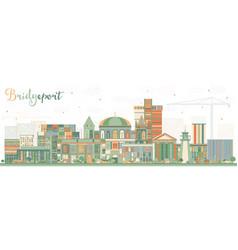 Bridgeport connecticut city skyline with color vector