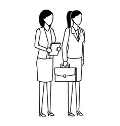 Businesswomen team coworker faceless black and vector