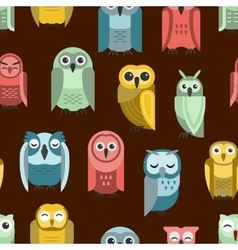 Cartoon owl seamless pattern vector image