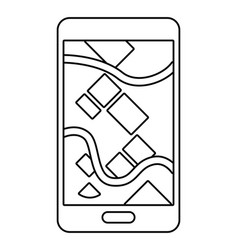 cellphone showing map in black and white vector image
