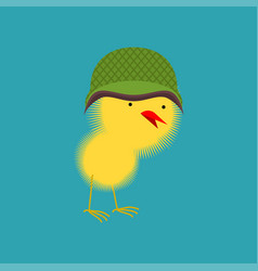 Chick in military helmet small chicken little vector