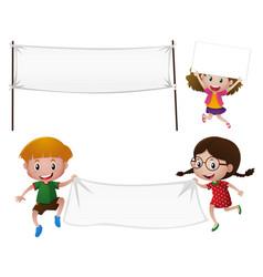children holding white cloth vector image