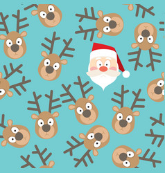Christmas seamless pattern santa and deers vector