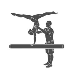 coach training young gymnast to balance on vector image