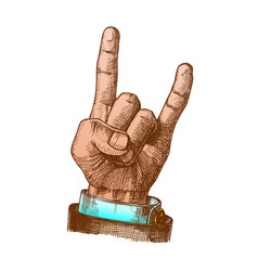 Color male hand make goat gesture two fingers up vector