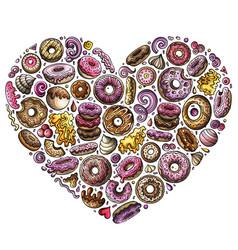 colorful hand drawn set donuts cartoon vector image