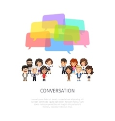 Conversation with colorful speech bubbles vector