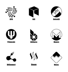 Crypt icons set simple style vector