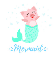 Cute pig with mermaid tail vector
