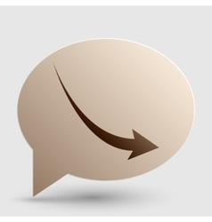 Declining arrow sign Brown gradient icon on vector