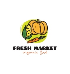 Doodle vegetables market logo vector