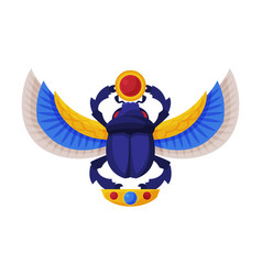 Egyptian scarab beetle with wings and sun symbol vector