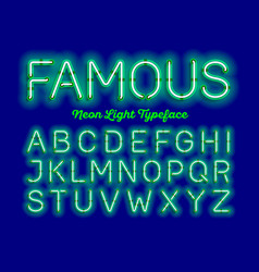 Famous neon light typeface vector