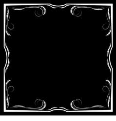 Floral white frame on a black background vector