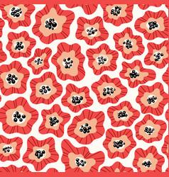 Flowers hand drawn seamless color pattern vector