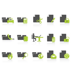 folder and document icons green series vector image vector image