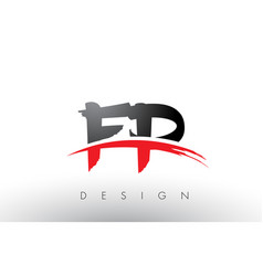 Fp f p brush logo letters with red and black vector