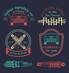 garage logos set car repair emblems collection vector image