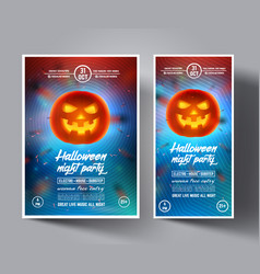 Halloween night party flyerleafletcoversbanners vector