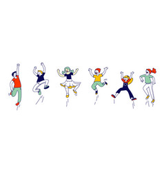 happy kids stand in row dancing and jumping vector image