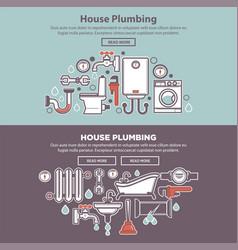 House plumbing homepage mockup vector