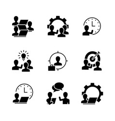 human resources black icons on white background vector image