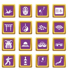 japan icons set purple vector image