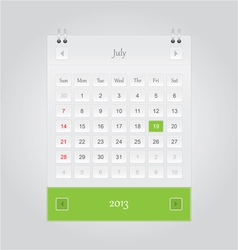 July 2013 Calendar vector image vector image