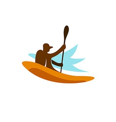 kayak fishing logo vector image