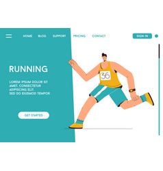 landing page running concept runner vector image