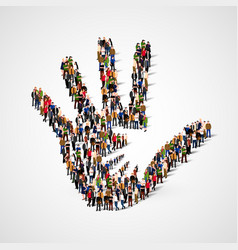 large group people in form helping hand icon vector image