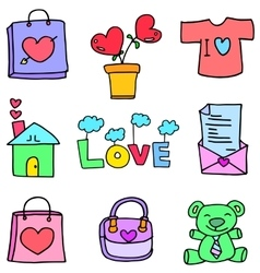 Love theme doll bag flower of doodles vector