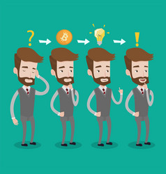 man got idea for cryptocurrency business project vector image