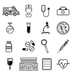 Medicine icons set in flat style vector